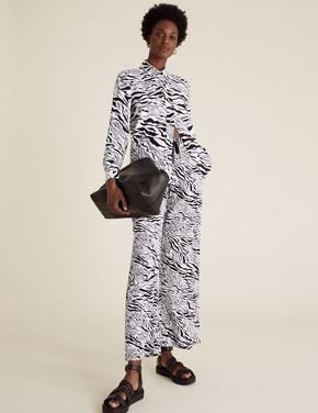 Kadın Siyah Keten Desenli Geniş Paça Pantolon