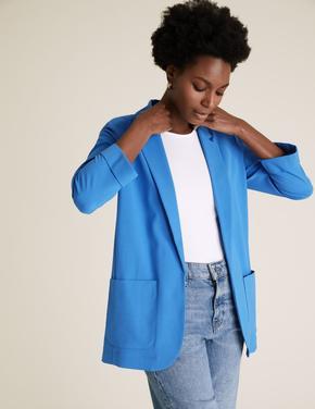 Kadın Mavi Cepli Blazer Ceket