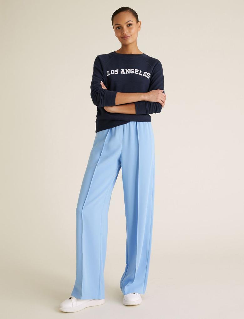 Kadın Mavi Geniş Paça Pantolon