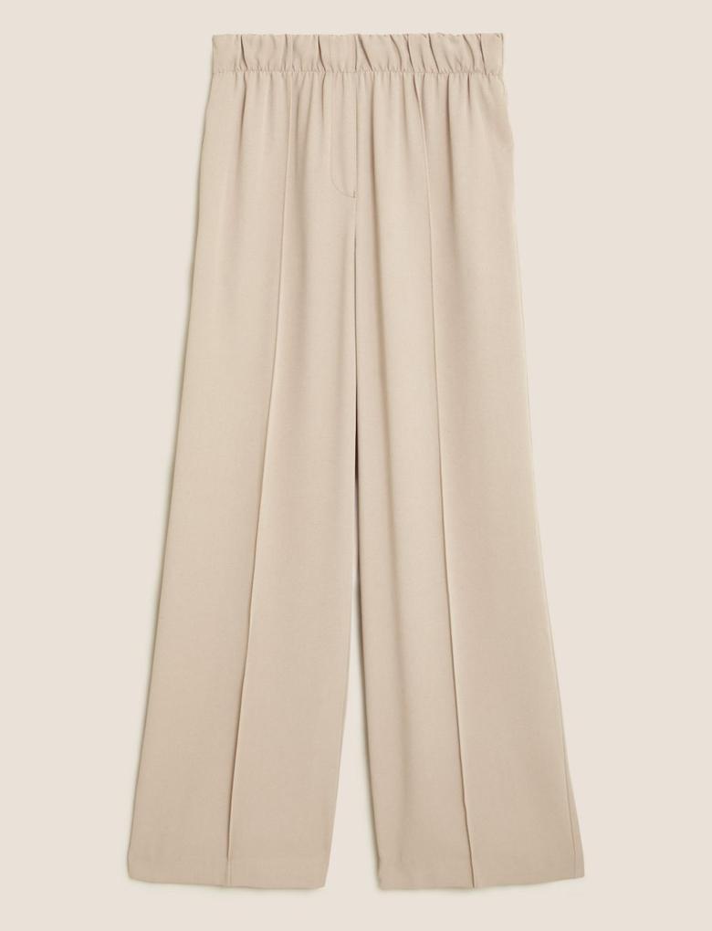 Kadın Renksiz Geniş Paça Pantolon