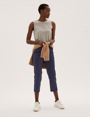 Kadın Lacivert Mia Slim Kısa Pantolon