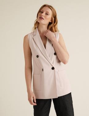 Kadın Bej Kruvaze Kolsuz Blazer Ceket