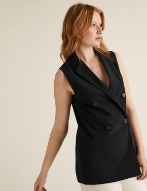 Kadın Siyah Kruvaze Kolsuz Blazer Ceket