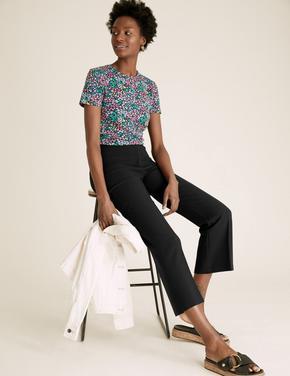 Kadın Siyah Flare Crop Pantolon