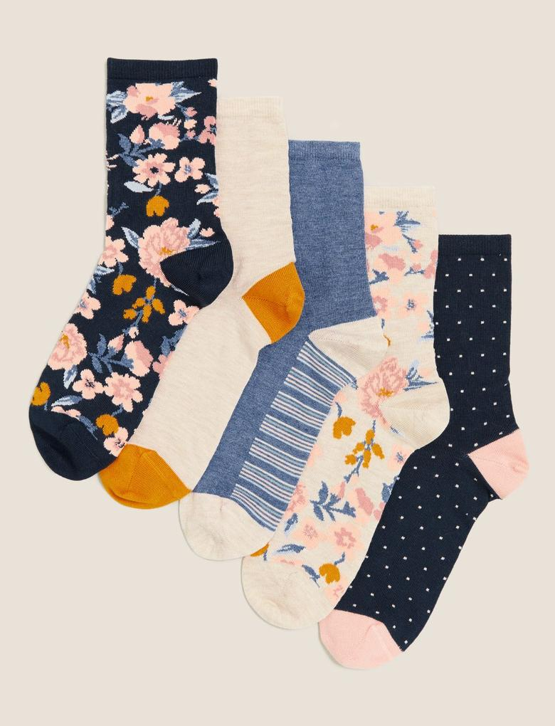 Kadın Lacivert 5'li Sumptuously Soft™ Çiçek Desenli Çorap Seti