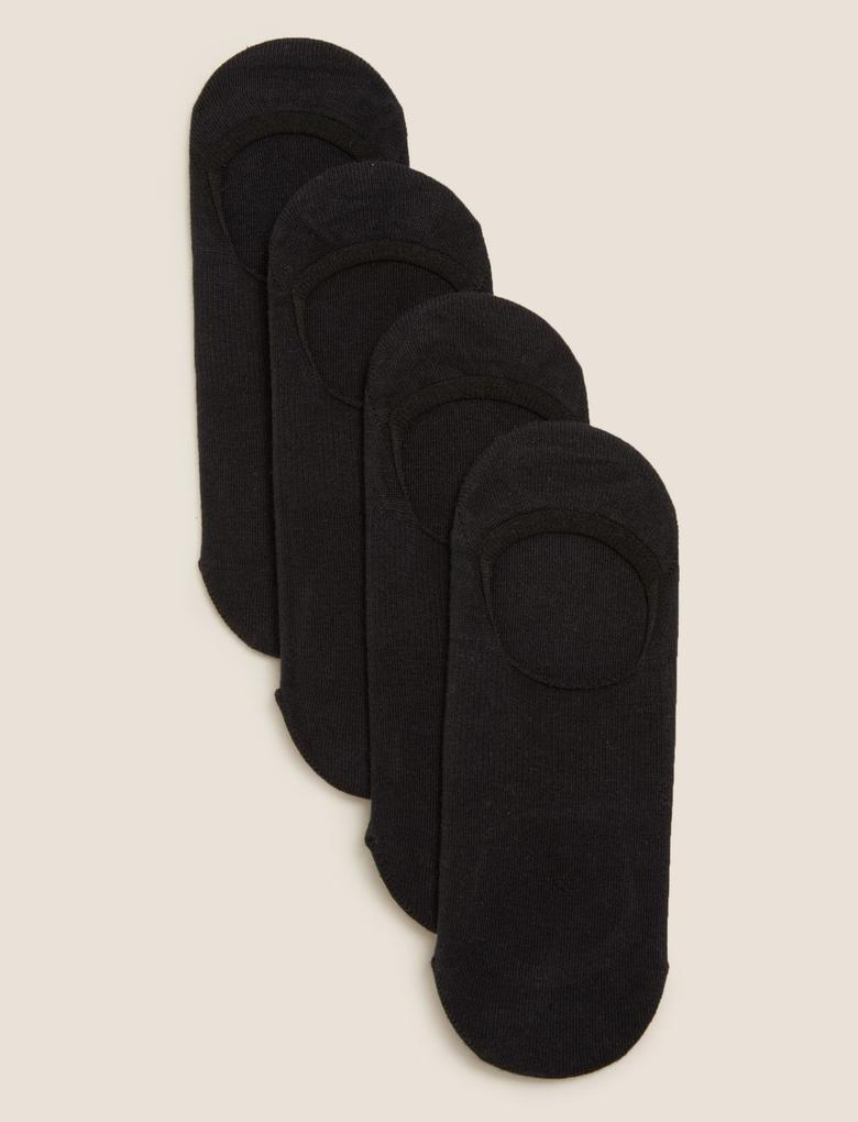 Kadın Siyah 4'lü Pamuklu Çorap Seti