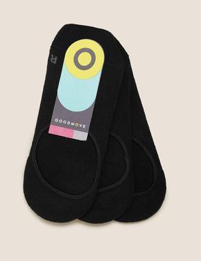 Kadın Siyah 3'lü Destekli Footsie Çoraplar