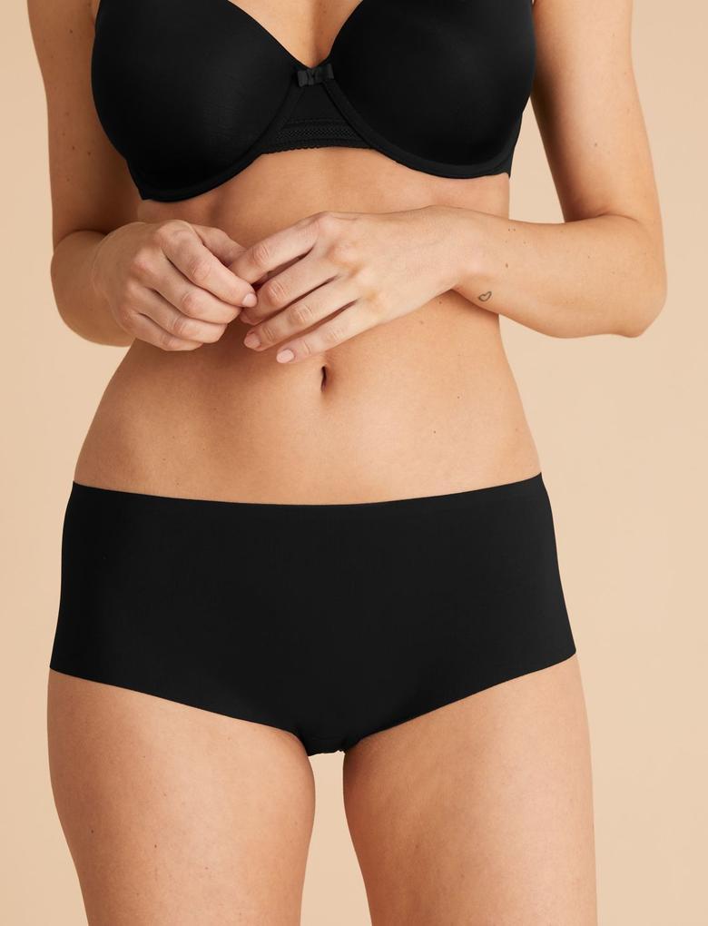 Siyah 3'lü İz Bırakmayan Yüksek Belli Short Külot Seti
