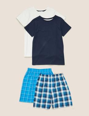 Çocuk Mavi 2'li Saf Pamuklu Şortlu Pijama Takımı
