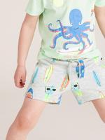Erkek Çocuk Gri Organik Pamuklu Sörf Desenli Şort