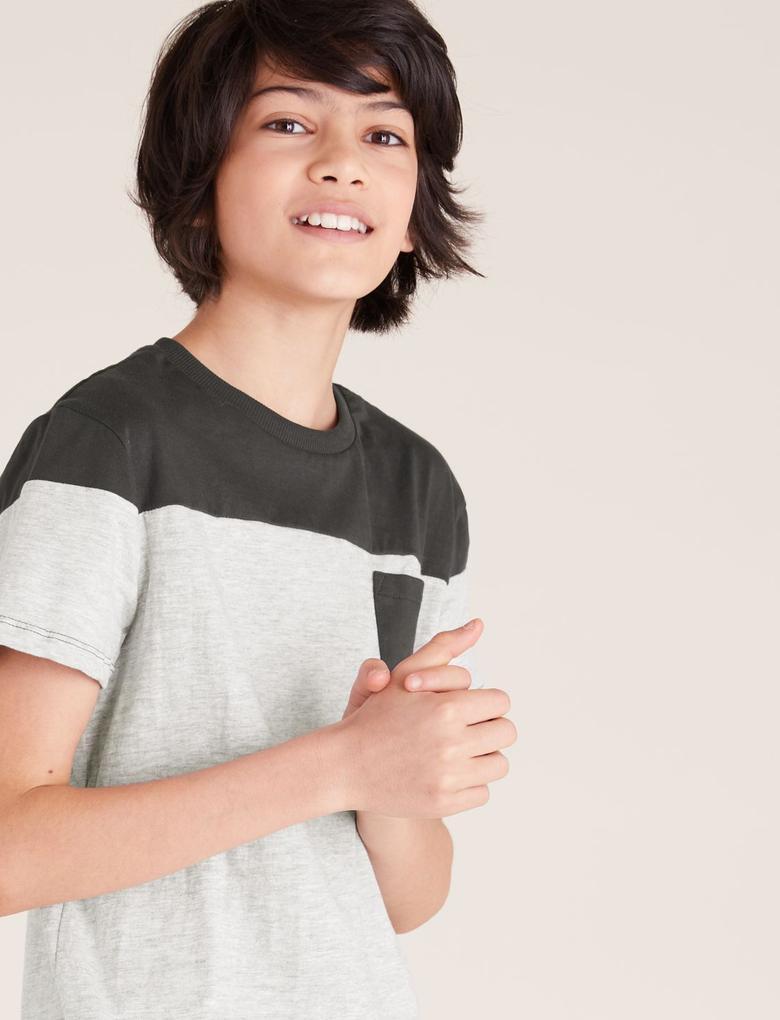 Erkek Çocuk Gri Pamuklu T-Shirt