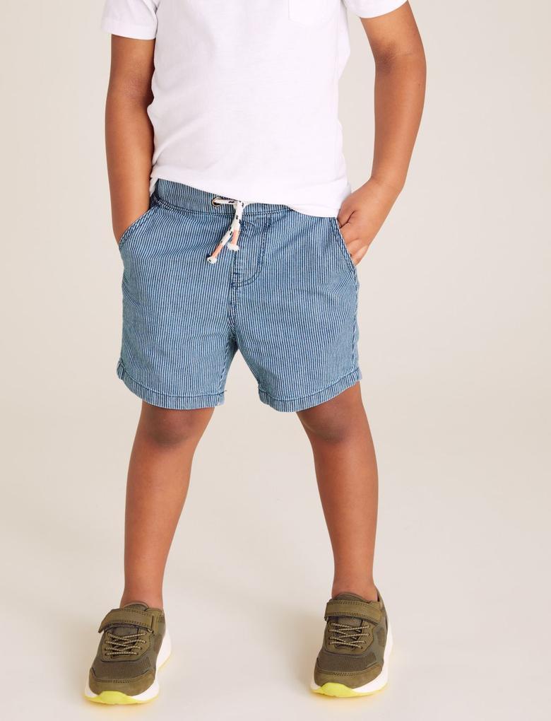Erkek Çocuk Mavi Pamuklu Çizgili Şort
