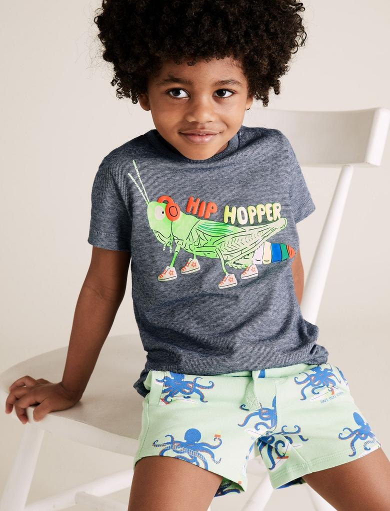 Erkek Çocuk Lacivert Organik Pamuklu Çekirge Desenli T-Shirt