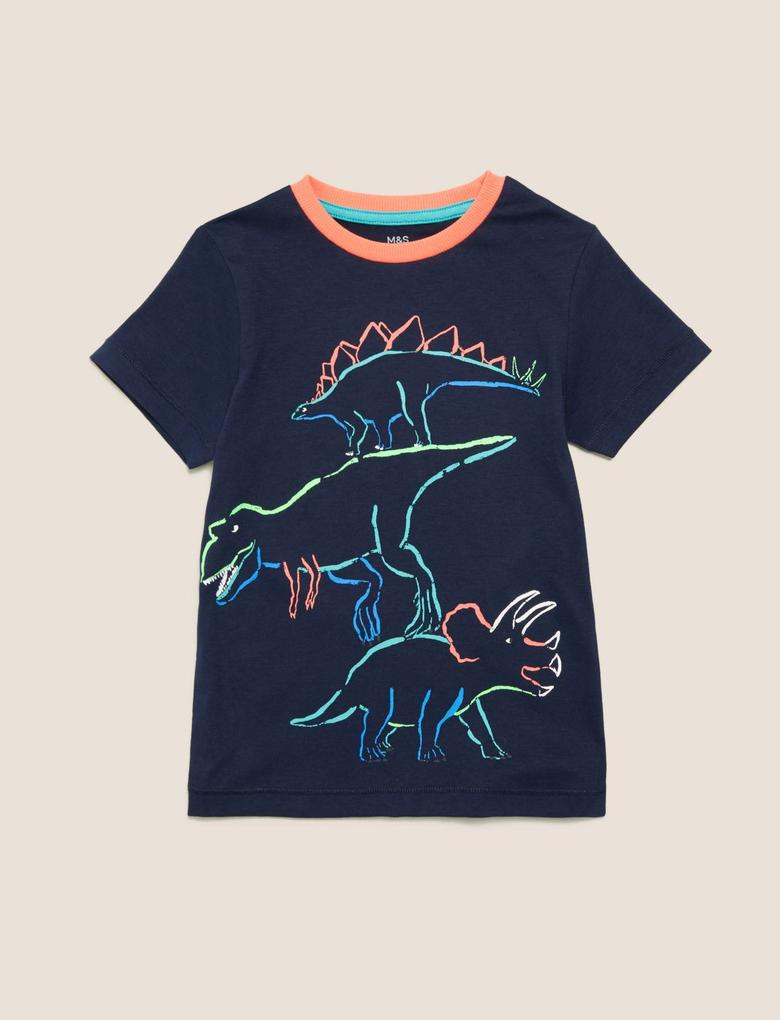 Erkek Çocuk Lacivert Organik Pamuklu Dinazor Desenli T-Shirt