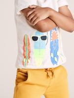 Erkek Çocuk Beyaz Organik Pamuklu Sörf Desenli T-Shirt