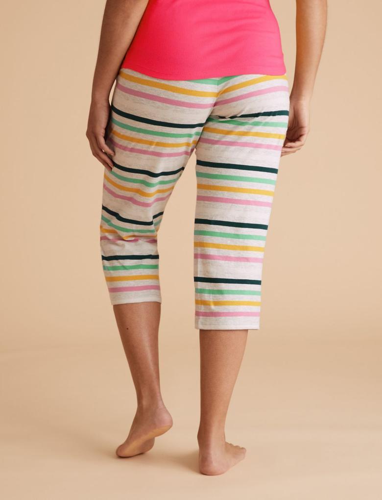 Kadın Multi Renk Pamuklu Çizgili Kısa Crop Pijama Altı