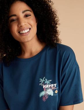 Kadın Mavi Saf Pamuklu Slogan Baskılı Pijama Üstü