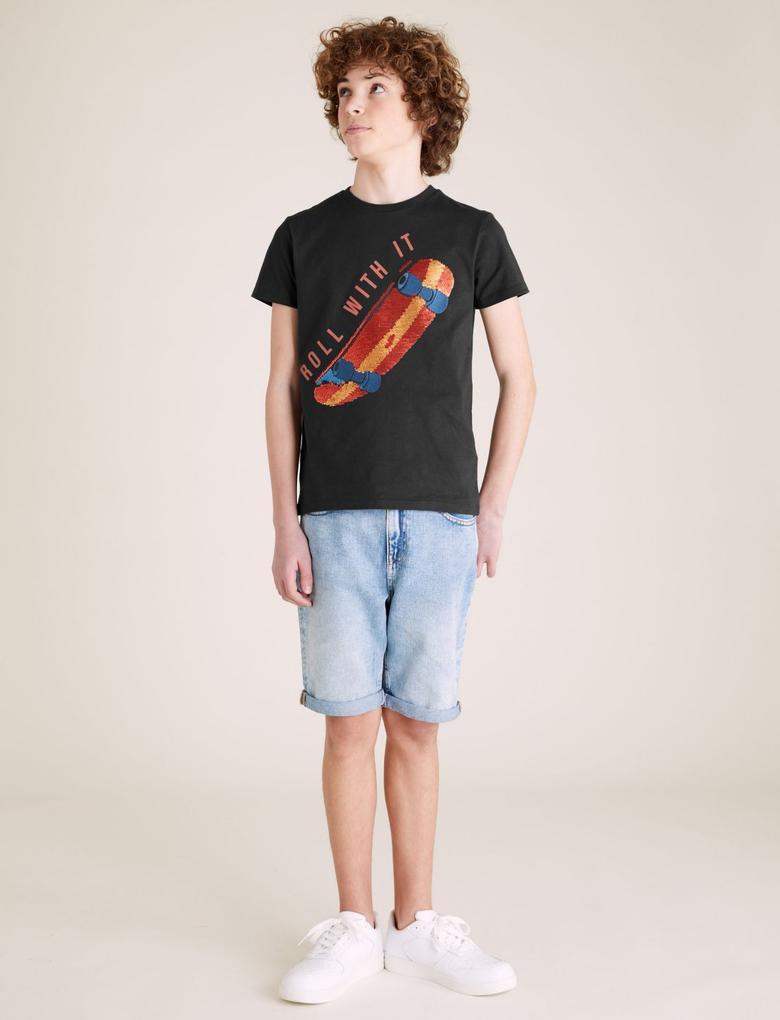 Erkek Çocuk Gri Kaykay Basklı T-Shirt