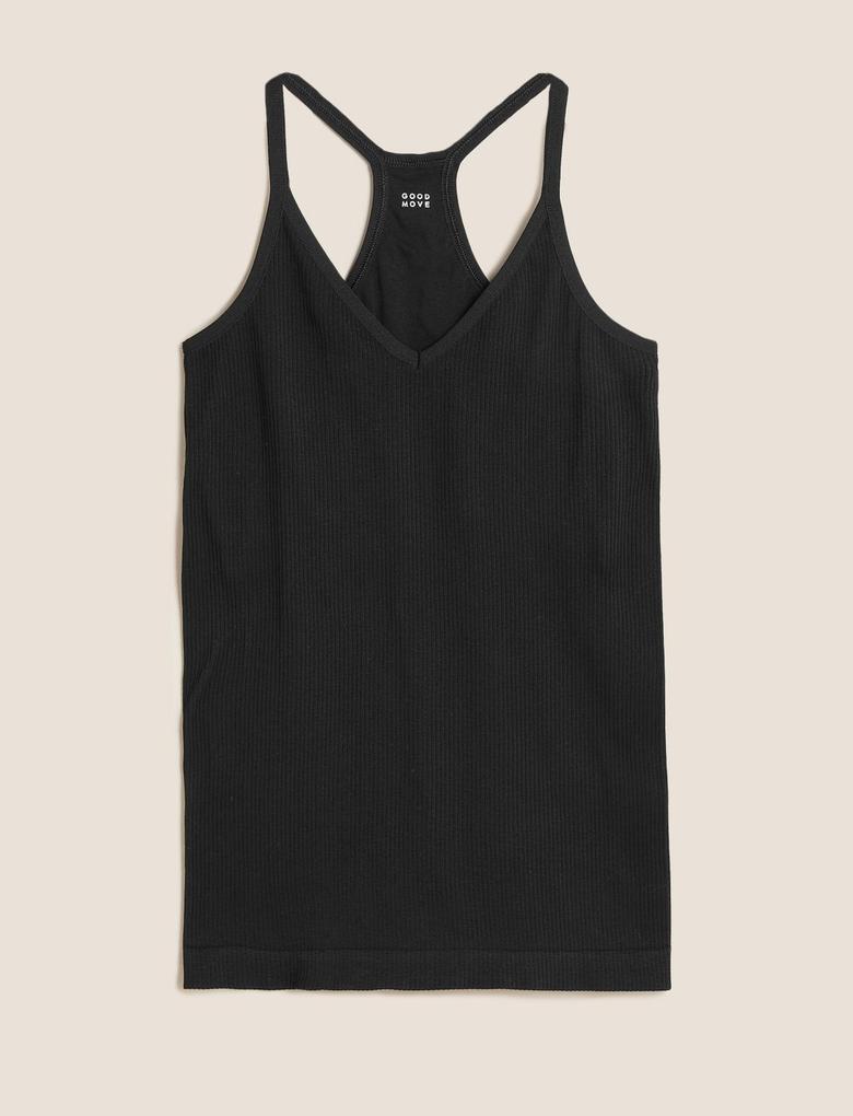 Kadın Siyah İnce Askılı T-Shirt