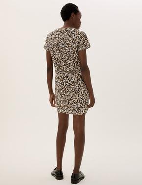Kadın Multi Renk Leopar Desenli Elbise