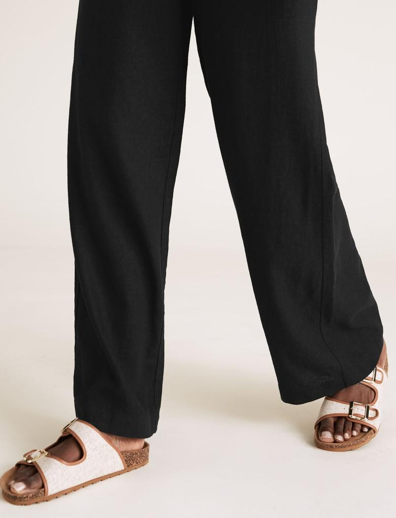Kadın Siyah Keten Wide Leg Trousers