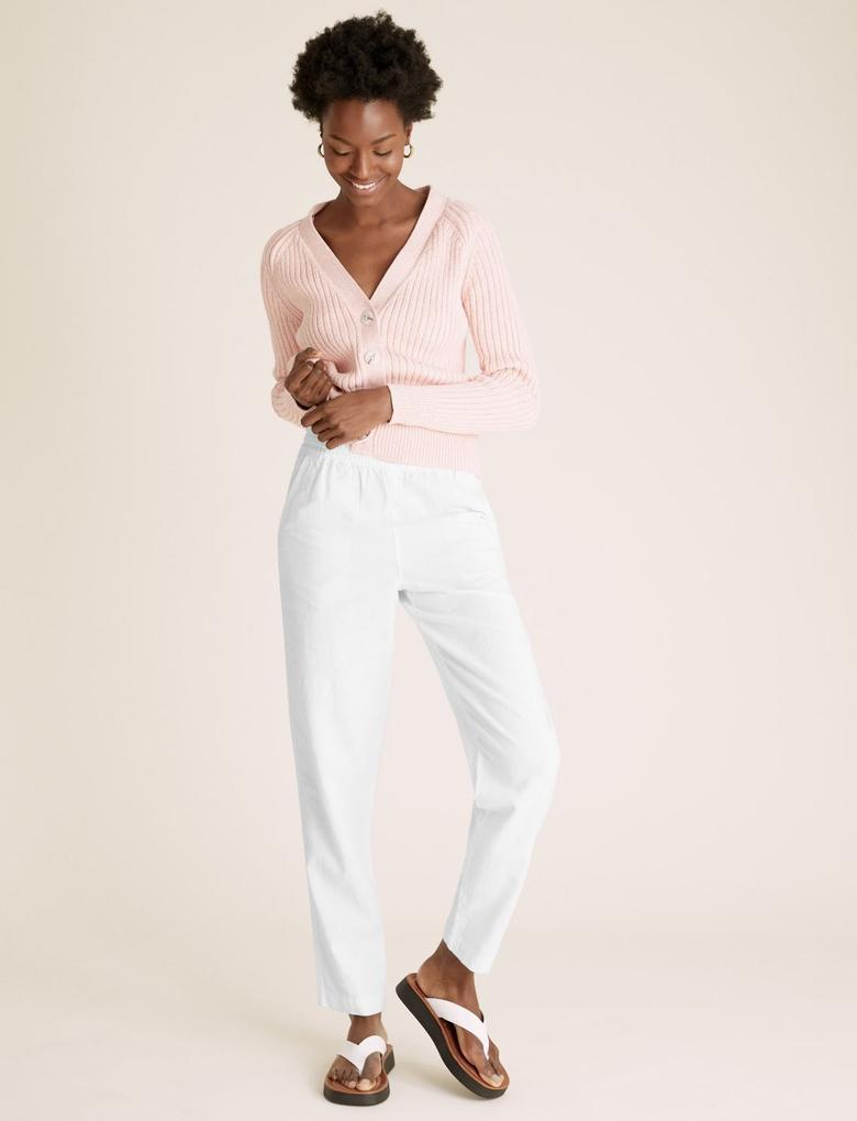 Kadın Beyaz Tapered Ankle GrazerKeten Pantolon
