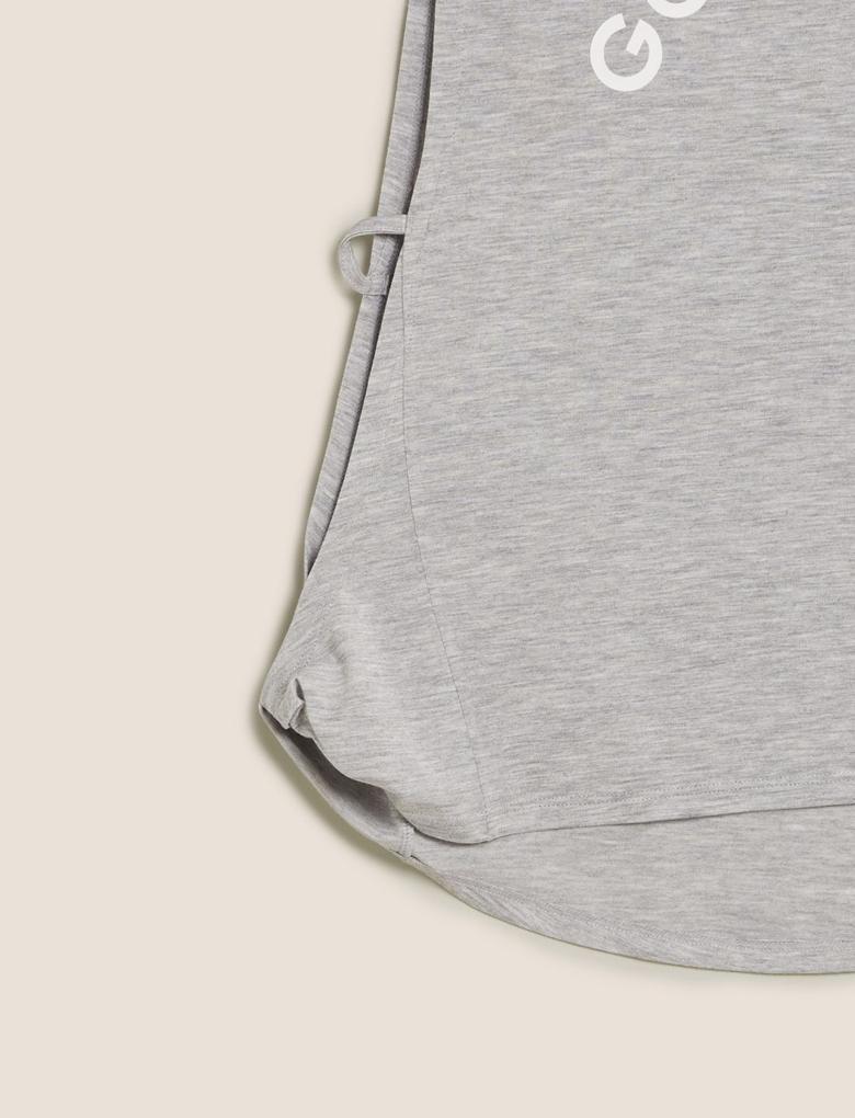 Kadın Gri Slogan Baskılı T-Shirt