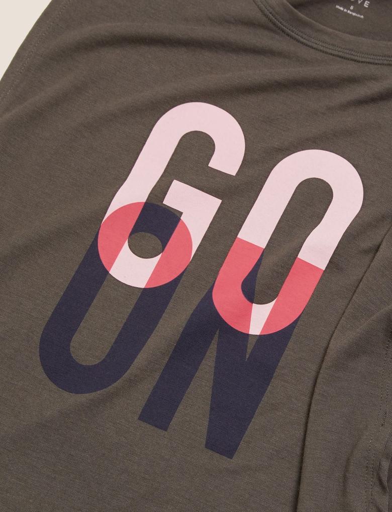 Yeşil Slogan Baskılı T-Shirt