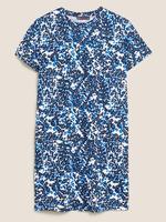 Kadın Mavi Leopar Desenli Elbise