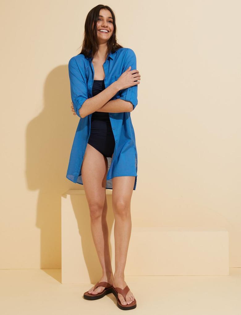 Kadın Mavi Saf Pamuklu Plaj Elbisesi