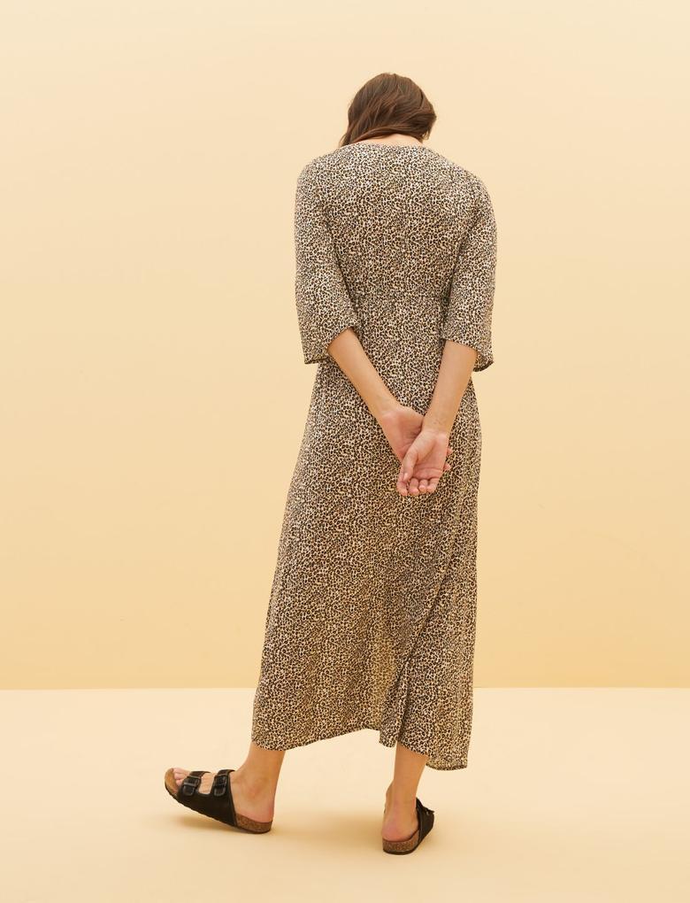 Kadın Kahverengi Leopar Desenli Plaj Elbisesi