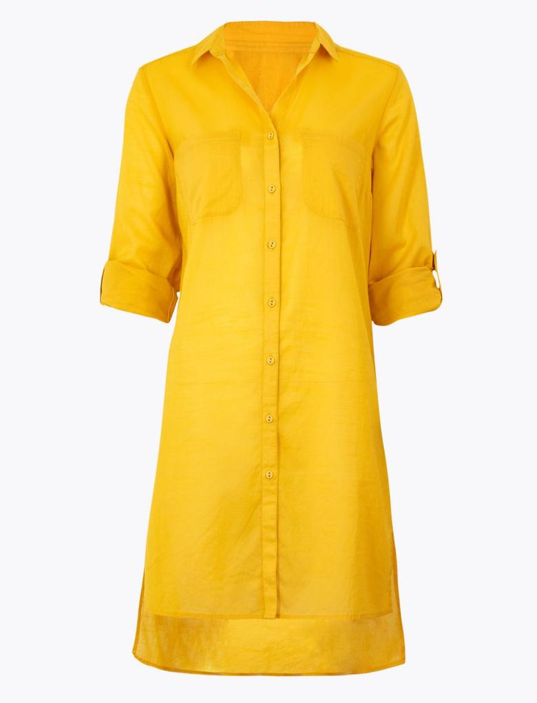 Kadın Sarı Saf Pamuklu Plaj Elbisesi