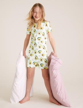 Çocuk Bej Avakado Desenli Pijama Takımı