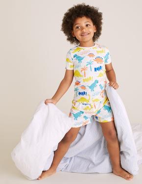 Çocuk Beyaz Dinozor Desenli Pijama Takımı