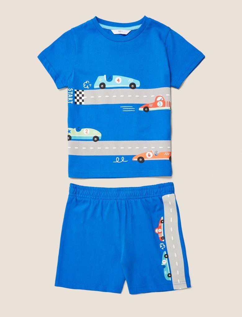 Çocuk Mavi Araba Baskılı Pijama Takımı
