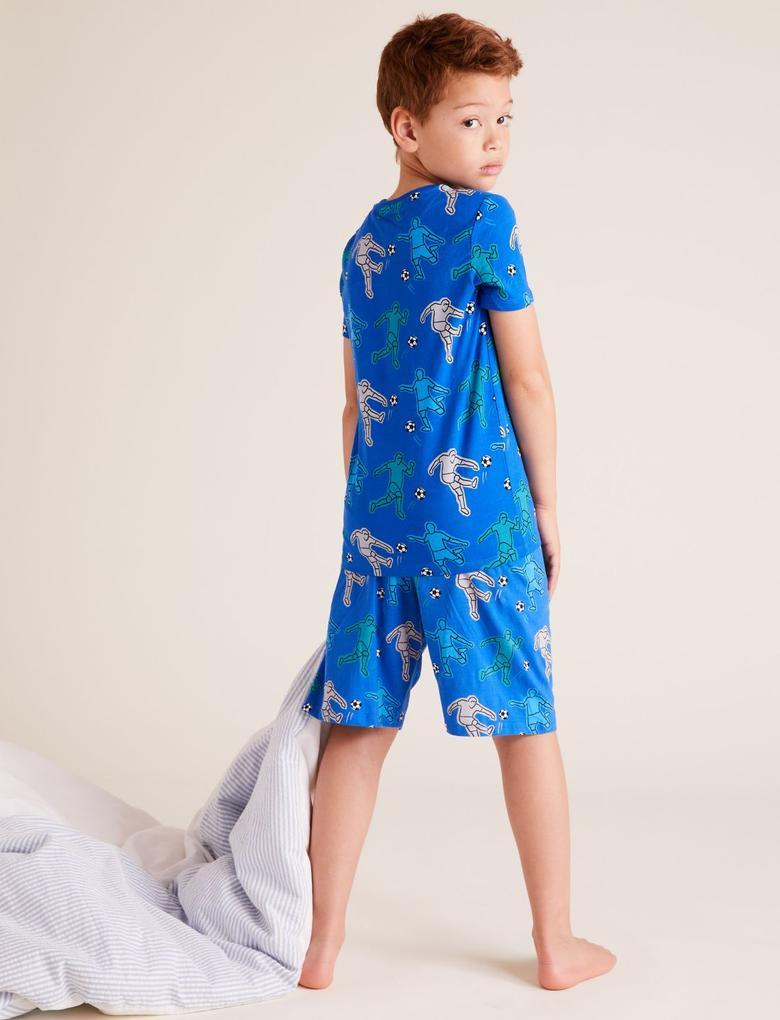 Çocuk Mavi Football Desenli Pijama Takımı