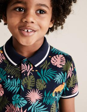 Erkek Çocuk Lacivert Tropical Desenli Polo Yaka T-Shirt