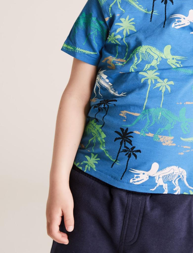 Erkek Çocuk Mavi Ejderha Desenli T-Shirt