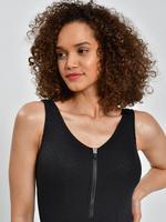 Kadın Siyah Zikzak Desenli Fermuarlı Mayo