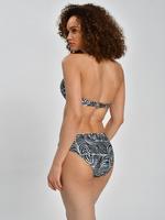 Kadın Siyah Zebra Desenli Halka Detaylı Bikini Üstü