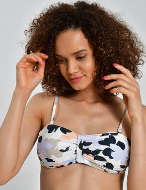 Kadın Bej Çiçek Desenli Bikini Üstü