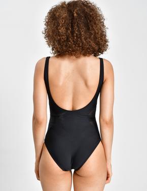 Kadın Siyah Tül Detaylı Mayo