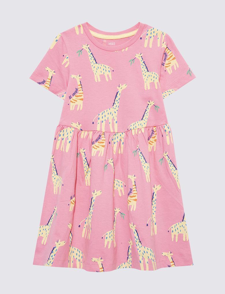 Kız Çocuk Pembe Grafik Desenli Elbise