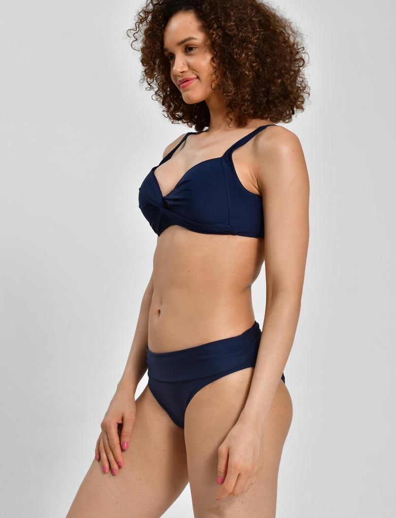 Kadın Lacivert Beli Katlamalı Bikini Altı