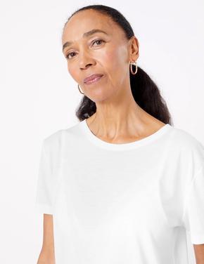 Kadın Beyaz Relaxed Fit T-Shirt