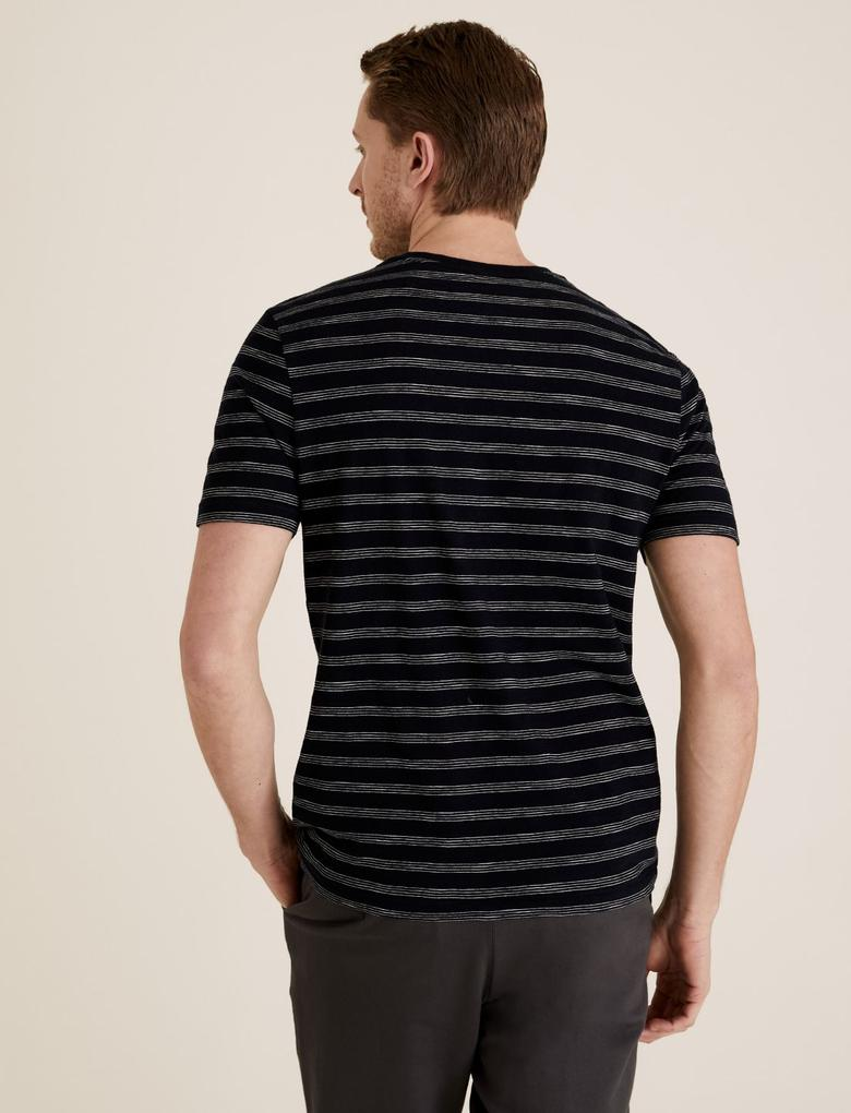 Lacivert Çizgili T-Shirt