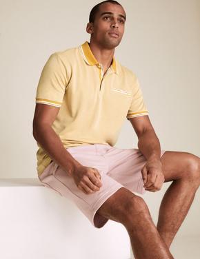 Erkek Sarı Polo Yaka Pamuklu T-Shirt