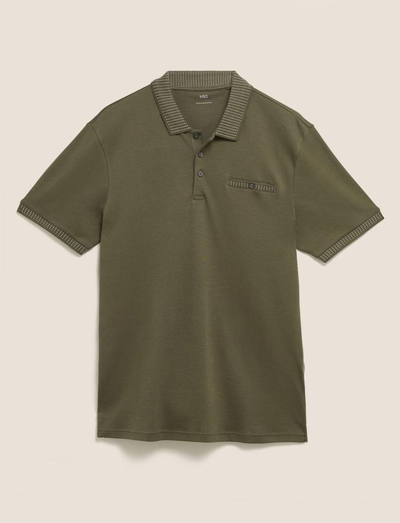 Erkek Yeşil Polo Yaka Pamuklu  T-Shirt