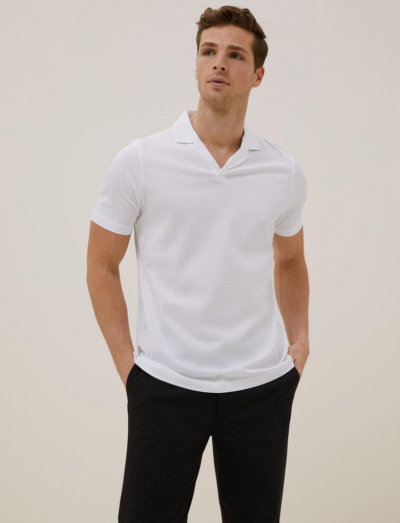 Erkek Beyaz Polo Yaka Pamuklu  T-Shirt