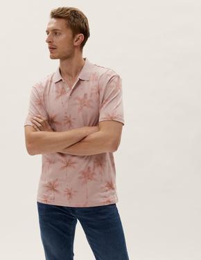 Erkek Pembe Çiçek Desenli Polo Yaka T-Shirt